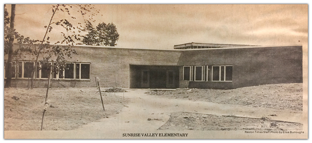 Photograph of a Reston Times newspaper clipping showing Sunrise Valley Elementary School in 1979, just before the building opened.