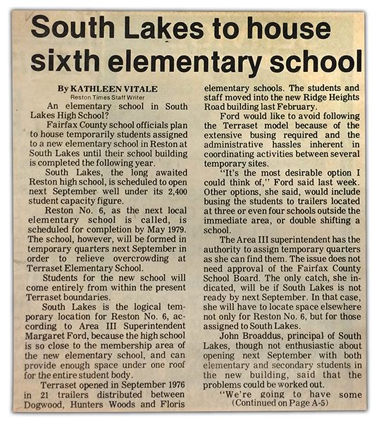 Photograph of a Reston Times newspaper clipping from 1977. The article talks about Reston Elementary School Number Six, later named Sunrise Valley, and explains how the school will be housed at South Lakes High School during the coming school year.