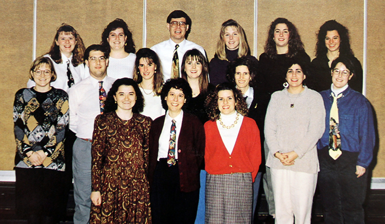 Group photograph showing Marymount University students who were part of the Professional Development Academy at Sunrise Valley Elementary School during the 1994 to 1995 school year. 16 people are pictured.