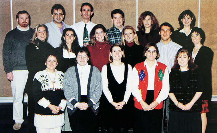 Group photograph showing Marymount University students who were part of the Professional Development Academy at Sunrise Valley Elementary School during the 1995 to 1996 school year. 17 people are pictured.