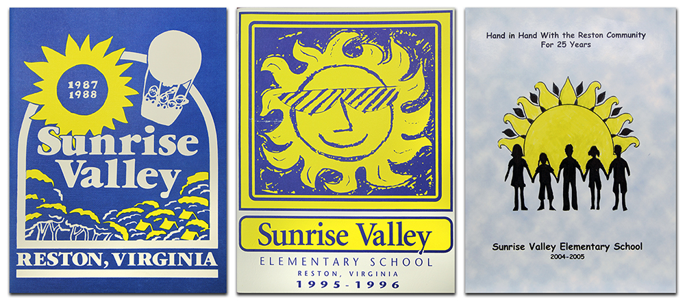 Photograph of the covers of three Sunrise Valley Elementary School yearbooks.